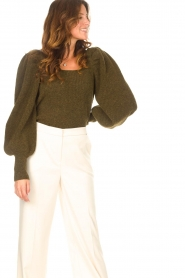 Copenhagen Muse |  Knitted sweater with puff sleeves Alpaca | groen  | Picture 4