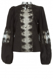 Copenhagen Muse |  Blouse with lace Madelyn | black  | Picture 1