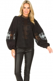 Copenhagen Muse    Blouse with lace Madelyn   black    Picture 2
