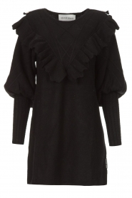 Silvian Heach |  Sweater dress wtih ruffles Rigel | black  | Picture 1