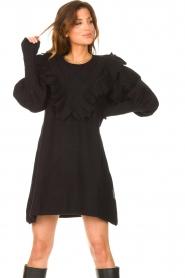 Silvian Heach |  Sweater dress wtih ruffles Rigel | black  | Picture 2