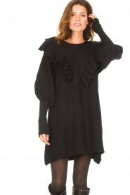 Silvian Heach    Sweater dress wtih ruffles Rigel   black    Picture 2