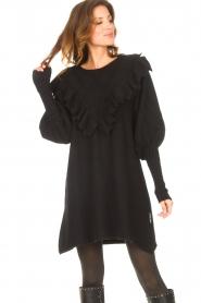 Silvian Heach    Sweater dress wtih ruffles Rigel   black    Picture 5