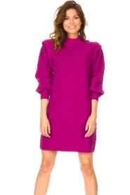 Silvian Heach |  Sweater dress with balloon sleeves Kettering | purple  | Picture 4