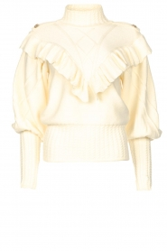 Silvian Heach    Knitted turtleneck sweater with ruffles Ribbar   natural    Picture 1
