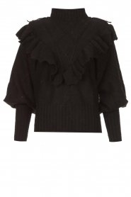 Silvian Heach |  Knitted turtleneck sweater with ruffles Ribbar | black  | Picture 1
