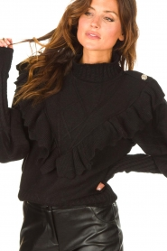 Silvian Heach |  Knitted turtleneck sweater with ruffles Ribbar | black  | Picture 8