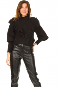 Silvian Heach |  Knitted turtleneck sweater with ruffles Ribbar | black  | Picture 2