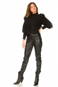 Silvian Heach |  Knitted turtleneck sweater with ruffles Ribbar | black  | Picture 3