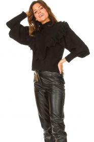 Silvian Heach |  Knitted turtleneck sweater with ruffles Ribbar | black  | Picture 4