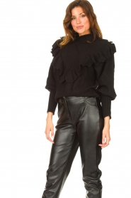 Silvian Heach |  Knitted turtleneck sweater with ruffles Ribbar | black  | Picture 5