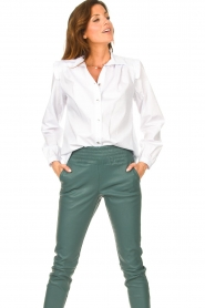 Silvian Heach |  Cotton blouse with shoulder pads Register | white  | Picture 2