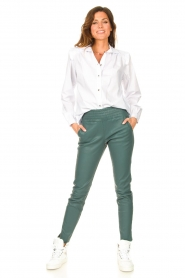Silvian Heach |  Cotton blouse with shoulder pads Register | white  | Picture 3