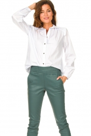 Silvian Heach |  Cotton blouse with shoulder pads Register | white  | Picture 4