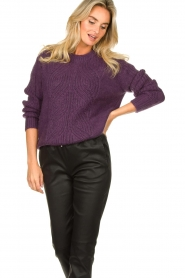 Les Favorites |  Knitted sweater Babs | purple  | Picture 4