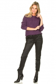 Les Favorites |  Knitted sweater Babs | purple  | Picture 3