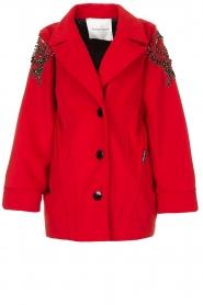 Silvian Heach |  Coat with rhinestones Kellaf | red  | Picture 1