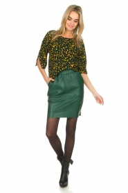 Dante 6 |  Leather skirt Staci | green  | Picture 3