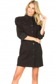Silvian Heach   Denim jurkje met pofmouwen Filner   zwart    Afbeelding 4