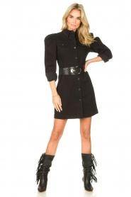 Silvian Heach   Denim jurkje met pofmouwen Filner   zwart    Afbeelding 3