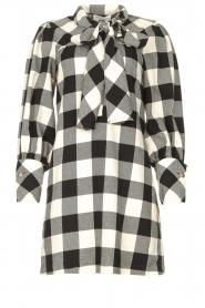 Silvian Heach | Geruite katoenen jurk met strikkraag Blimpit | zwart  | Afbeelding 1