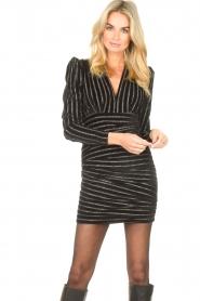 Silvian Heach    Dress with lurex stripes Lakit   black    Picture 4