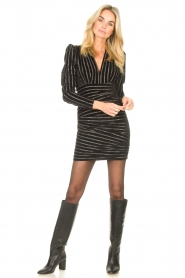 Silvian Heach    Dress with lurex stripes Lakit   black    Picture 3