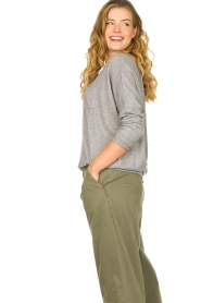Les Favorites | Sweater met overslag rug Viv | grijs  | Afbeelding 4