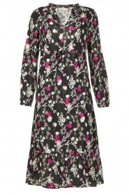 Les Favorites |  Printed midi dress Ella | black  | Picture 1