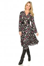 Les Favorites |  Printed midi dress Ella | black  | Picture 2