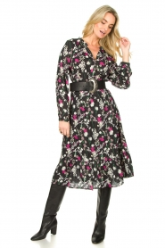 Les Favorites |  Printed midi dress Ella | black  | Picture 4