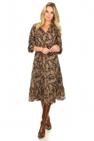 Les Favorites |  Paisly printed midi dress Ella | brown  | Picture 3