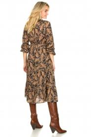 Les Favorites |  Paisly printed midi dress Ella | brown  | Picture 5