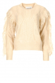 Silvian Heach |  Knitted sweater with fringes Compton | beige  | Picture 1