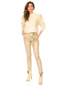 Silvian Heach |  Knitted sweater with fringes Compton | beige  | Picture 3