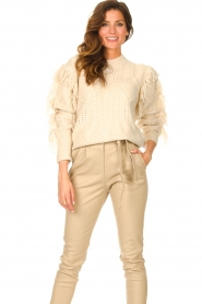 Silvian Heach |  Knitted sweater with fringes Compton | beige  | Picture 4