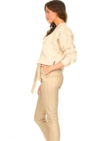 Silvian Heach |  Knitted sweater with fringes Compton | beige  | Picture 5