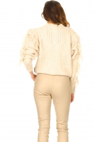 Silvian Heach |  Knitted sweater with fringes Compton | beige  | Picture 6