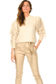 Silvian Heach |  Knitted sweater with fringes Compton | beige  | Picture 2