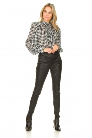 Silvian Heach |  Pied de poule dress with pussy bow Abbistar | black  | Picture 3