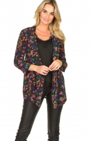 Les Favorites |  Floral blazer cardigan Fancy | black  | Picture 4