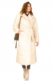 Second Female |  Puffer jacket with matching waistbelt Eva | natural  | Picture 2