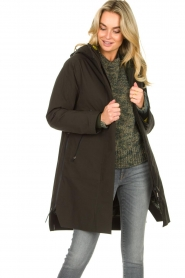 Krakatau |  Parka with green detachable quilted Liner | dark green  | Picture 5
