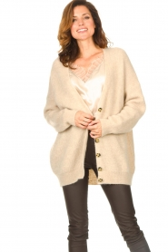 Second Female |  Knitted cardigan Grethe | beige  | Picture 2