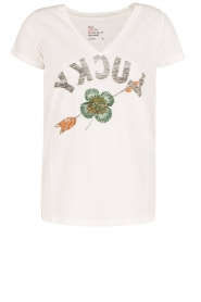 Leon & Harper | T-shirt Lucky | wit  | Afbeelding 1