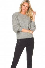 Second Female    Knitted sweater with puff sleeves Kalliroi   grey    Picture 2