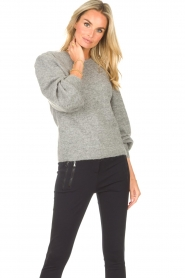 Second Female    Knitted sweater with puff sleeves Kalliroi   grey    Picture 5