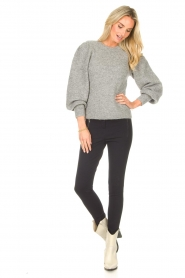 Second Female    Knitted sweater with puff sleeves Kalliroi   grey    Picture 3