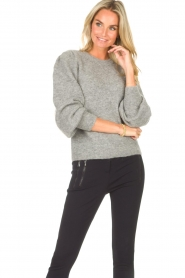 Second Female    Knitted sweater with puff sleeves Kalliroi   grey    Picture 4