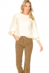 Second Female    Knitted sweater with puff sleeves Kalliroi   natural    Picture 2